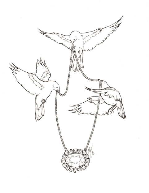 Diamond Birds Tattoo Design
