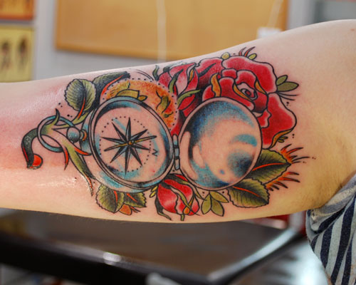 Elegant Compass With Red Rose Tattoo Design