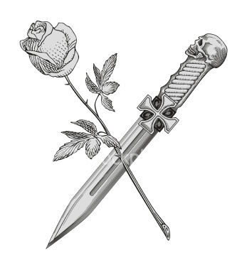 Emblem Dagger n Rose Tattoo Drawing