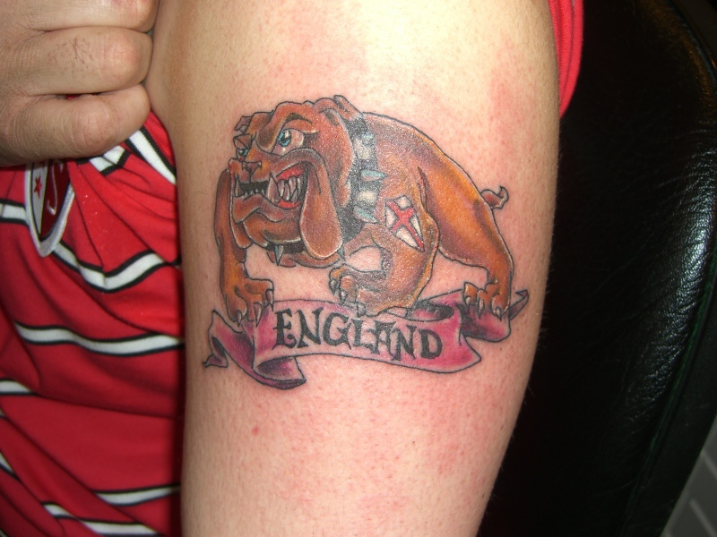 England Country Dog Tattoo On Biceps
