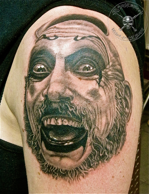 Evil Clown Tattoo On Shoulder