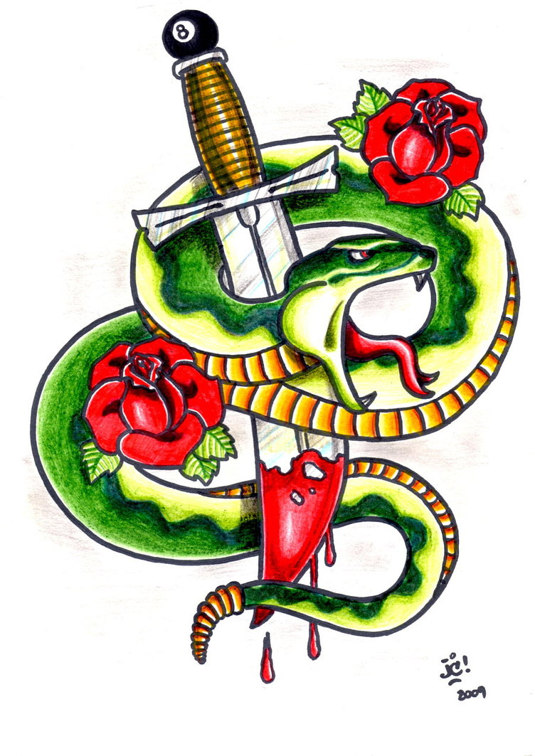 Fabulous Snake n Dagger Tattoo Design