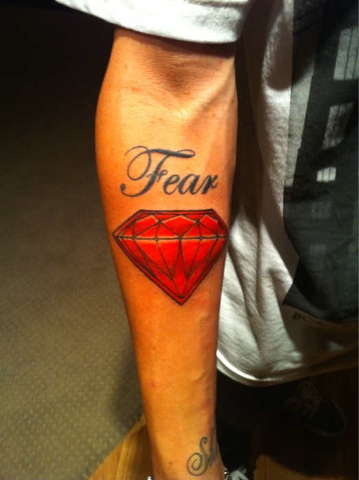 Fear Diamond Tattoo On Forearm