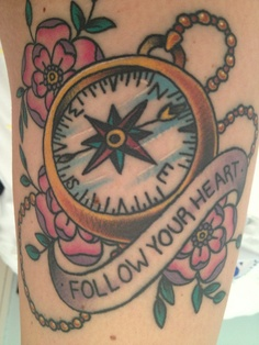 Follow Your Heart Compass Tattoo