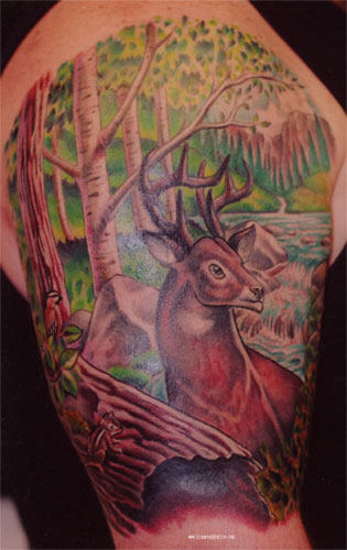 Forest Deer Tattoo Design
