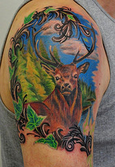 Forest Deer Tattoo On Shoulder