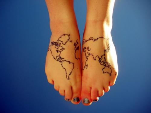 Full World Map Tattoo On Wrist