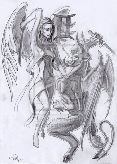 Gemini Angel n Devil Tattoo Drawing
