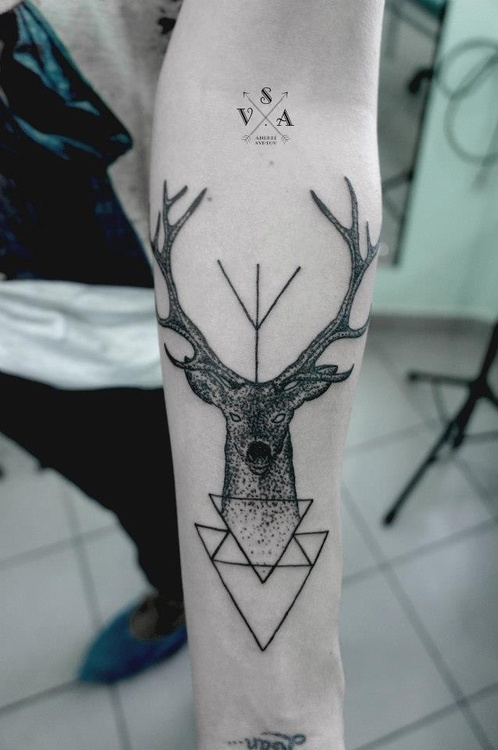 Geometric Deer Tattoo On Forearm