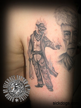 Ghost Rider Cowboy David Sickdogs Tattoo Design