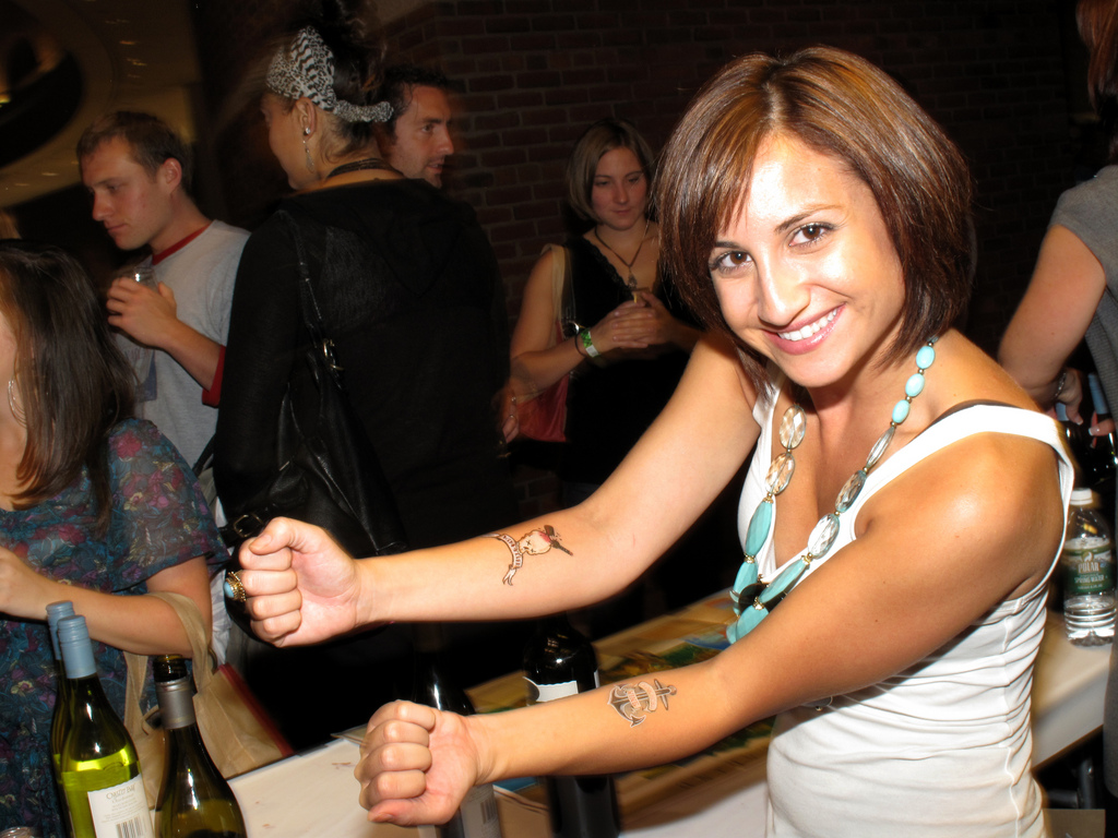 Girl Showing Couple Tattoo On Forearms