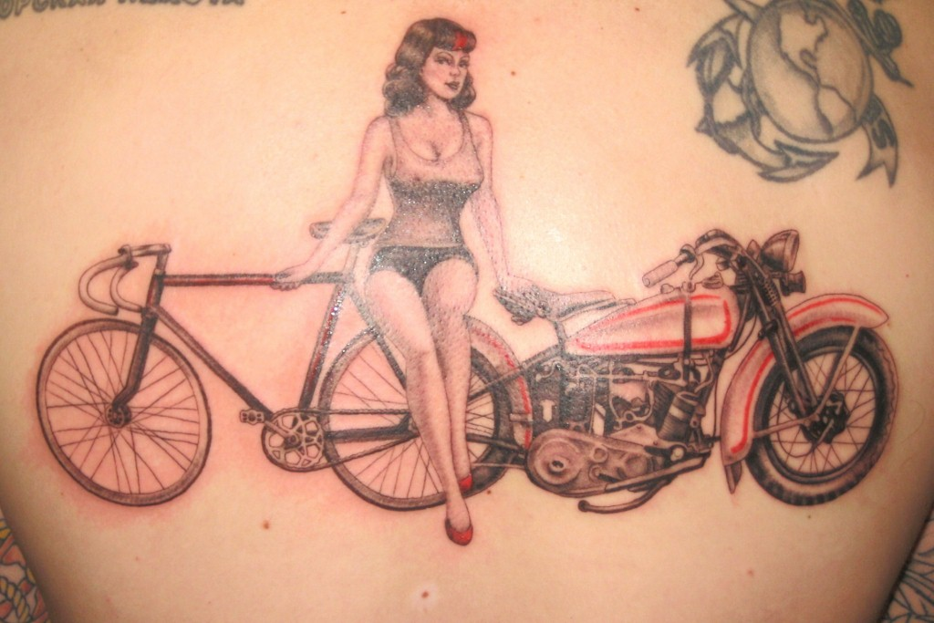 Girl With Bicycle & Bike Tattoo Design