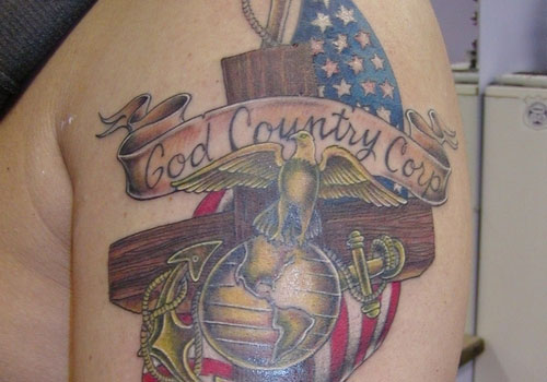God Country Tattoo On Shoulder