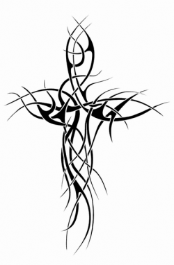 Great Tribal Cross Tattoo Design