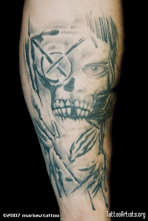 Grey Ink Death Skull Tattoo Design