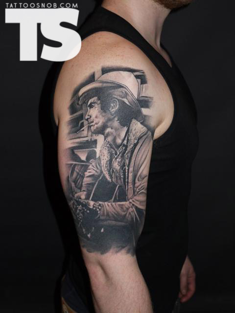 Half Sleeve Cowboy Portrait Tattoo Design