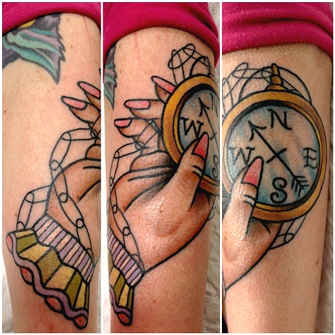 Hand Held Compass Tattoo Design