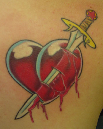 Heart Dagger Tattoo On Skin