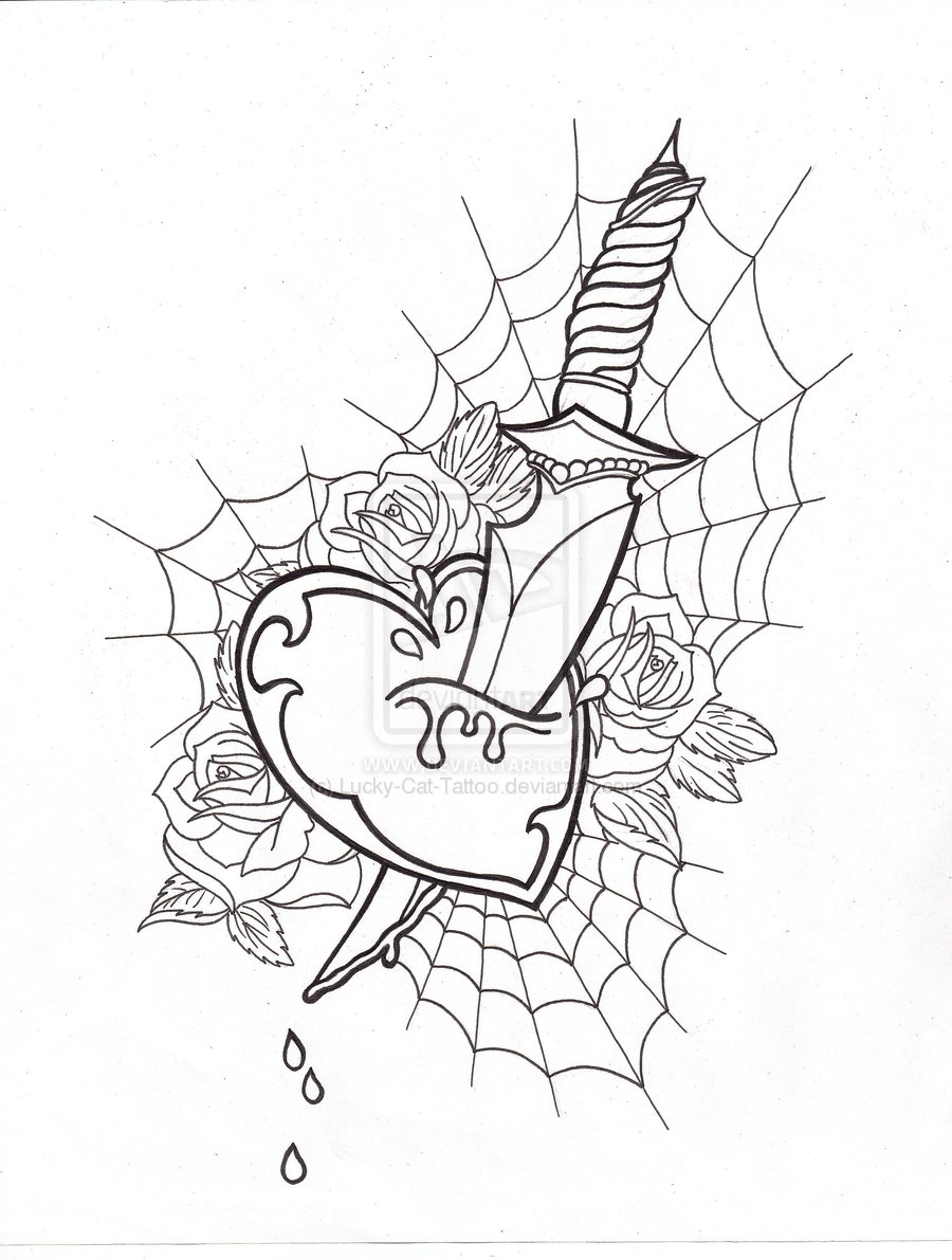 Heart Dagger Tattoo Sample