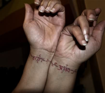 Hindi Tattoo On Wrist For Couples