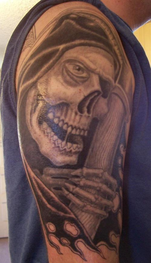 Horrifying Death Tattoo On Shoulder