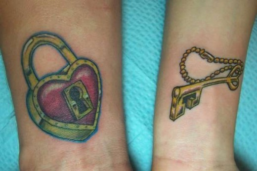 Hot Heart Lock & Key Couple Tattoo Design