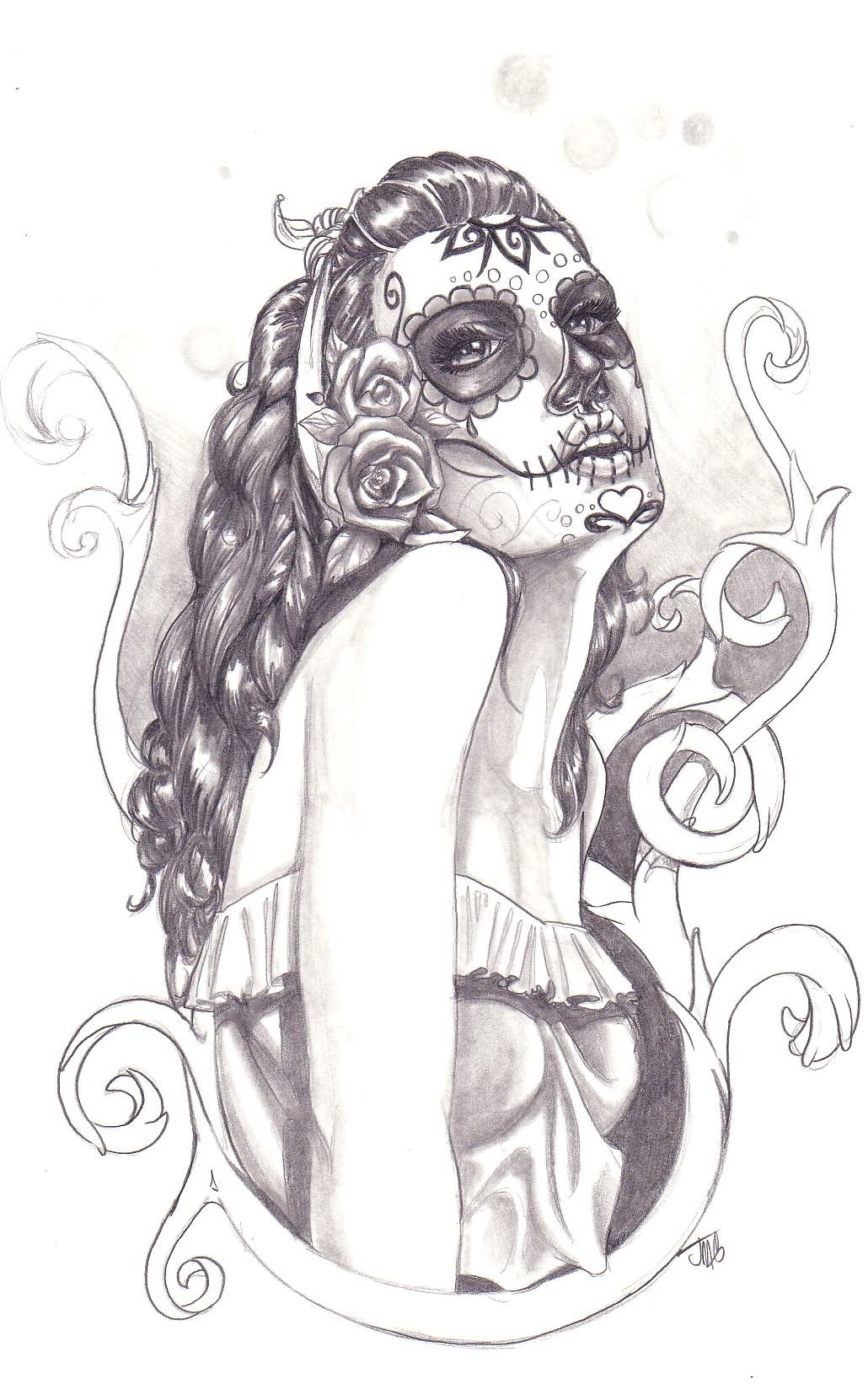 Lady Dia De Los Muertos Tattoo Drawing