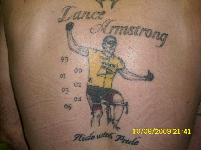 Lance Armstrong Cycle Tattoo On Back