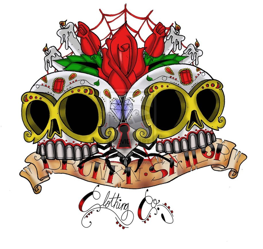 Latest Dia De Los Muertos Skull n Roses Tattoo Design
