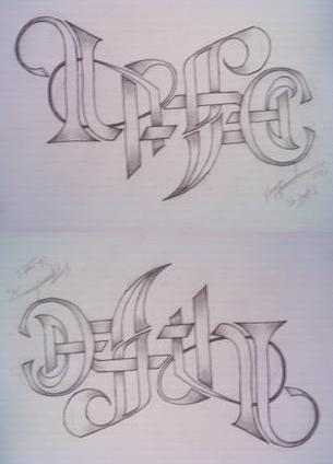 Life Death Text Tattoo Design