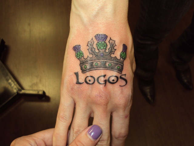 Logos Crown Tattoo On Hand