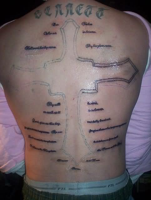 Lords Prayer Christian Cross Tattoo On Back