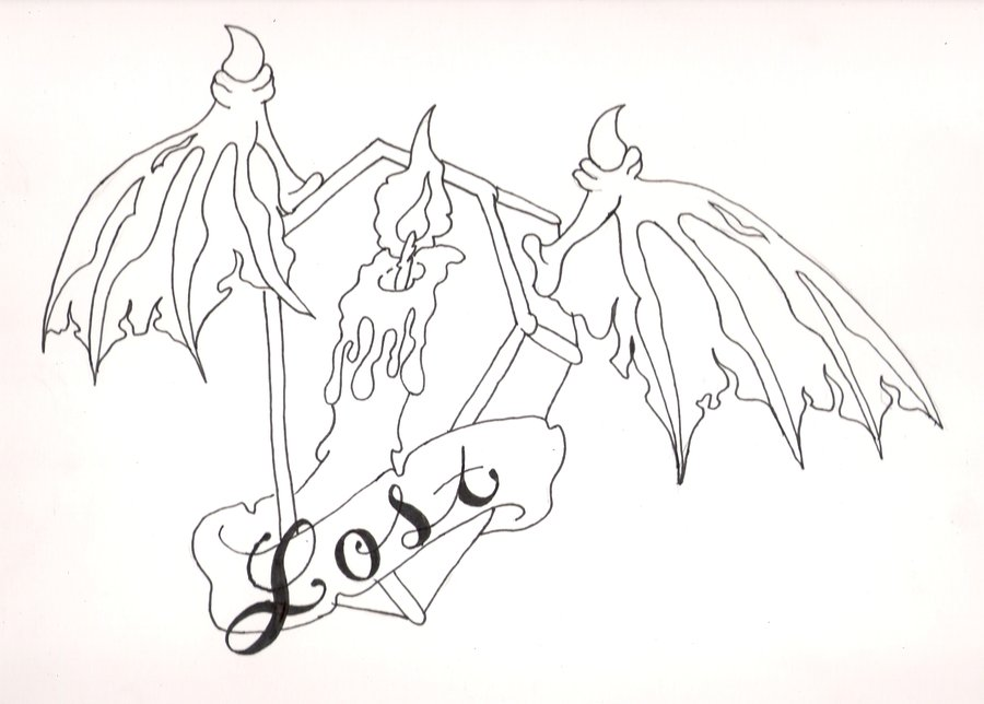 Lost Candle Coffin Tattoo Design