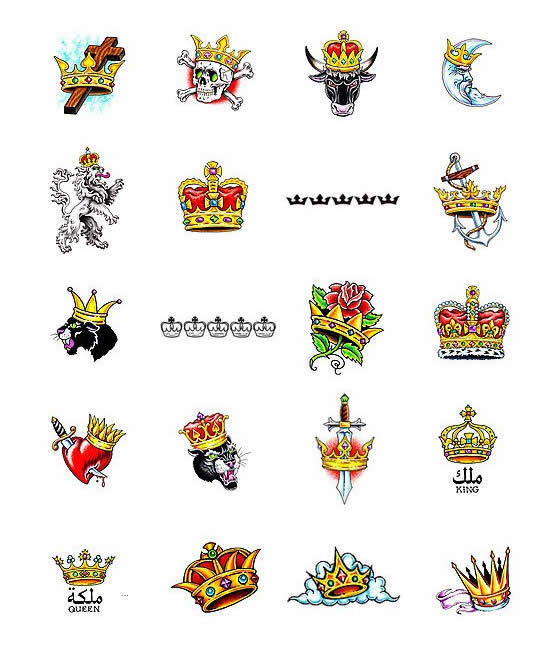 Lots Of Crown Tattoo Designs