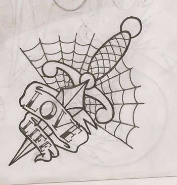Love Life Dagger Tattoo Design