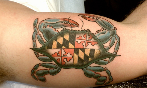 Maryland Crab Tattoo On Muscles
