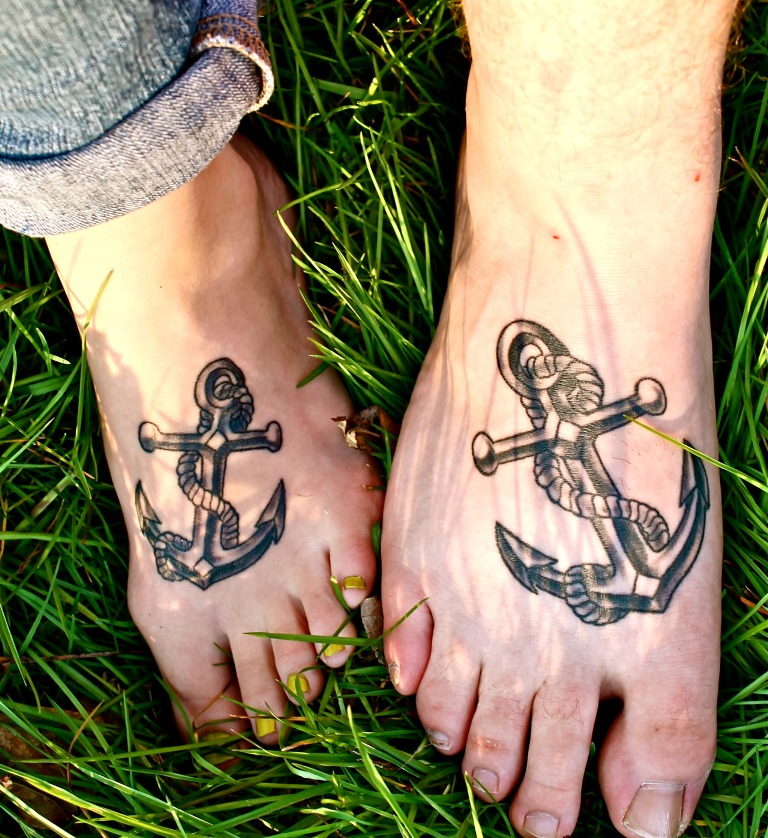 Matching Anchor Tattoo For Couples