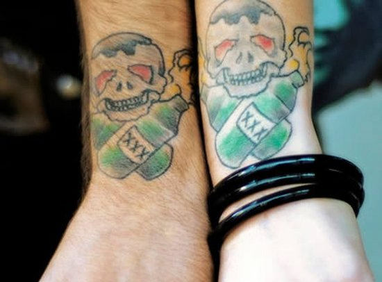 Matching Skull Tattoo Designs For Couples