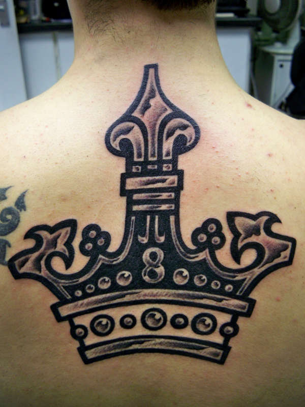 Metallic Effect Crown Tattoo On Back