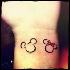Mickey Couple Outline Tattoo Design