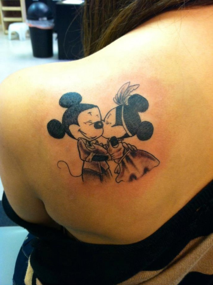 Mickey Couple Tattoo On Shoulder Back