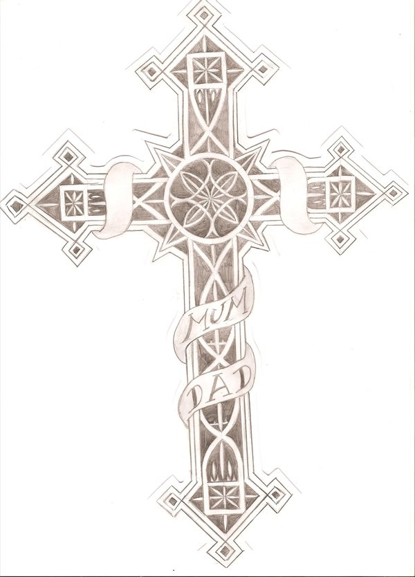 Mum Dad Cross Tattoo Design