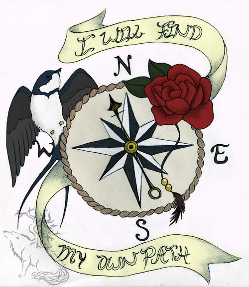 Nautical Compass With Red Rose Tattoo Design