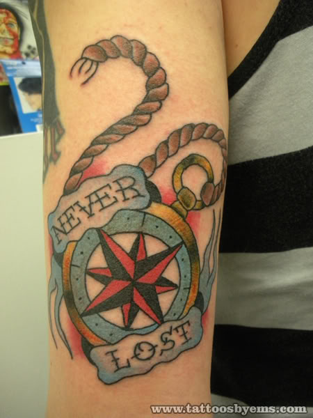Never Lost Nautical Compass Tattoo Design
