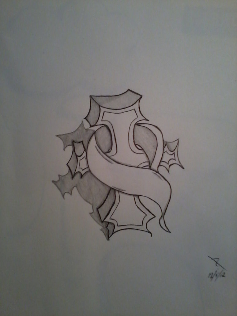 Nice Cross Tattoo Sketch