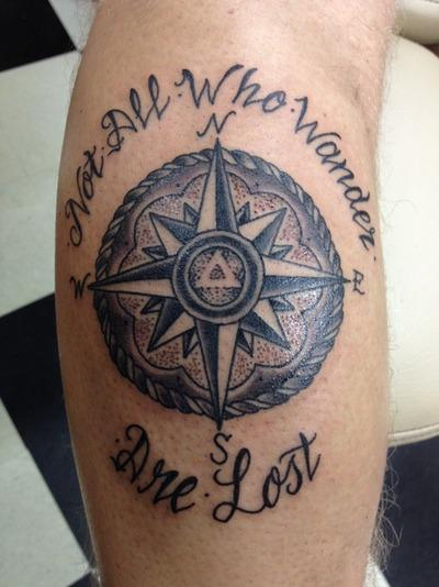 Not All Who Wander Are Lost Compass Tattoo Design