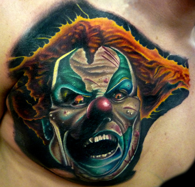Open Mouth Clown Tattoo On Chest