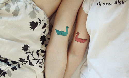 Origami Paper Crane Couple Tattoo