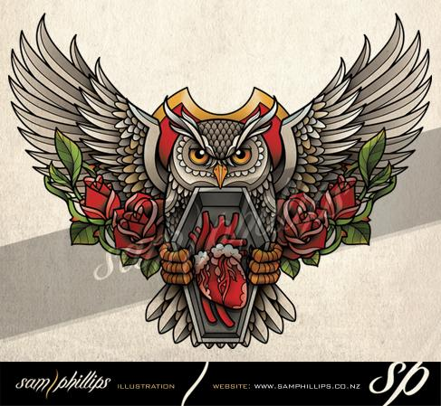 Owl With Heart Coffin Tattoo Design