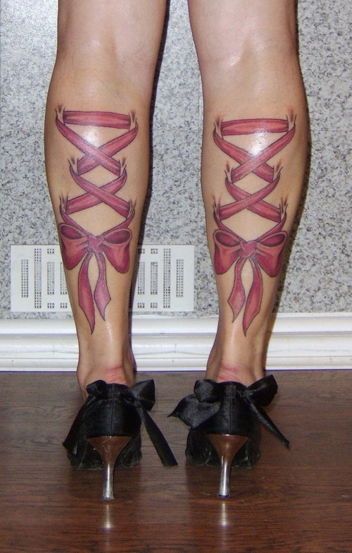Pink Corset Tattoo On Back Legs